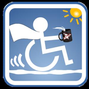 Logo von Roliman und seiner Webseite - Rollstuhlsymbol mit Kaffeetasse in der Hand in Superman Darstellung